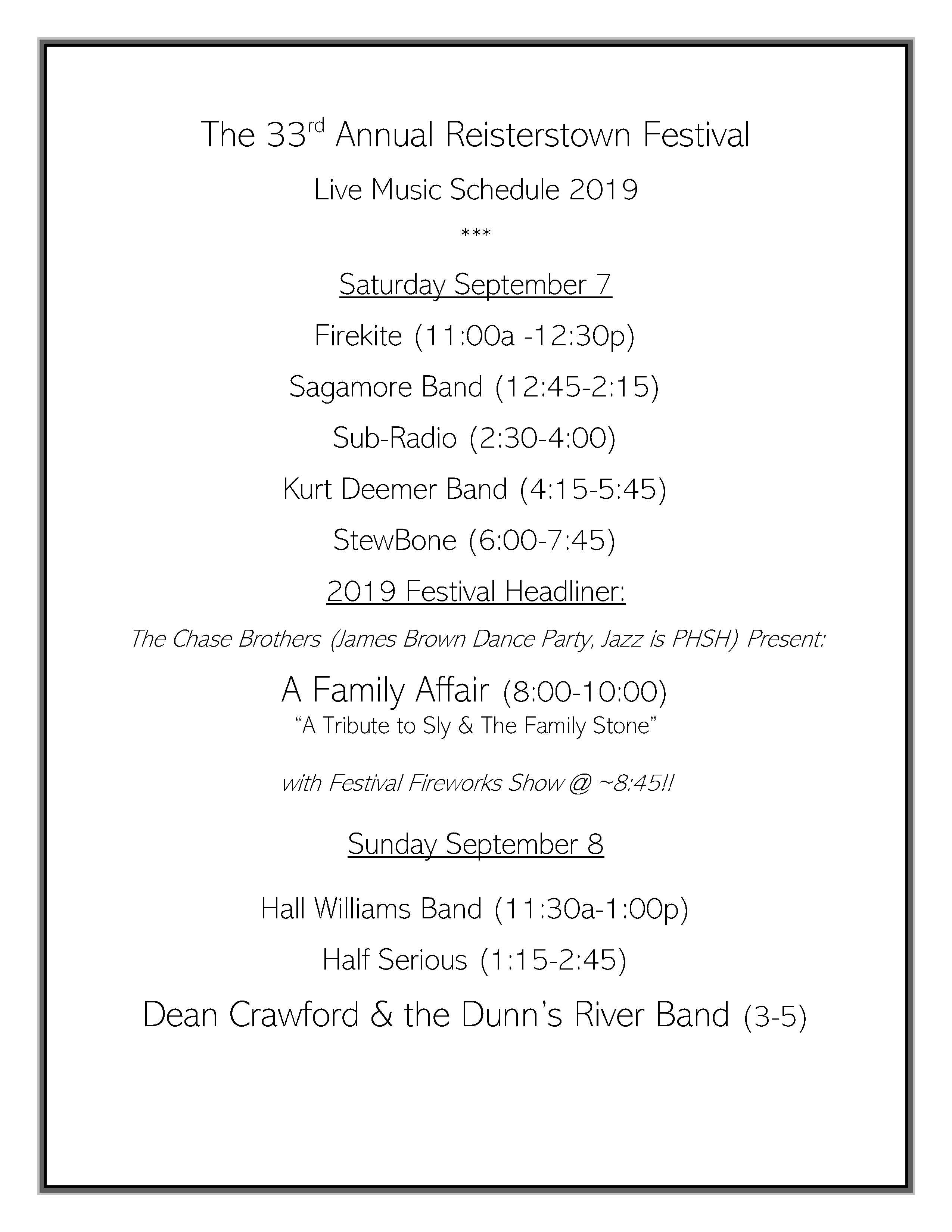 Band Schedule 2019